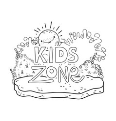 happy kids zone word label with landscape vector image