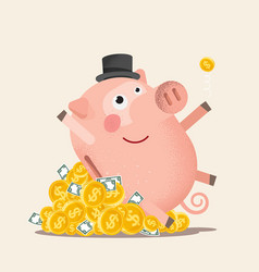 Happy piggy bank with coins vector