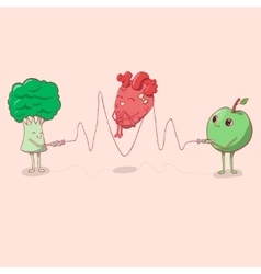 Heart jumping rope that held the apple and vector