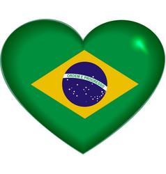 Heart shape Brazilian flag vector image vector image