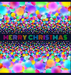 holographic merry christmas card with neon balls vector image