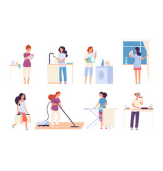 Housewives woman housewife doing housework happy vector