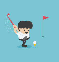 in cartoon style business man playing golf vector image