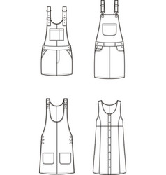 jean overall dress set vector image