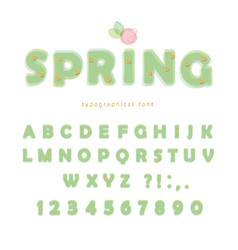 light green spring font transparent abc letters vector image