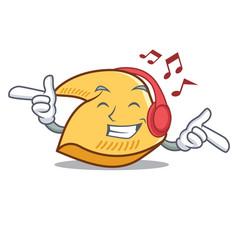Listening music fortune cookie mascot cartoon vector