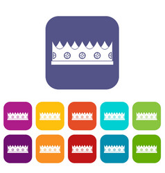 little crown icons set flat vector image