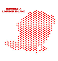 Lombok island map - mosaic of valentine hearts vector