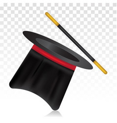 Magic top hat and wand - magician costume flat vector