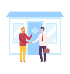 male agent and client shaking hands real estate vector image