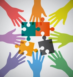 Many Teamwork People Join Colorful Hand and vector