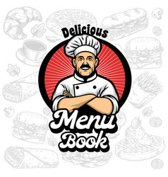 menu book cover design with chef cartoon vector image