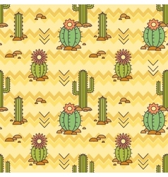 Mexican pattern of cacti Linear vector image