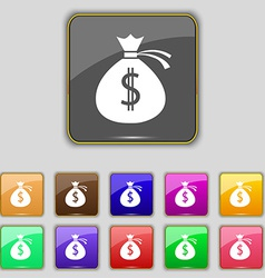 Money bag icon sign Set with eleven colored vector image