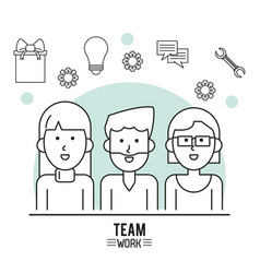 Monochrome poster of team work with half body vector
