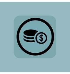Pale blue dollar rouleau sign vector