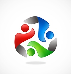 people circle teamwork logo vector image