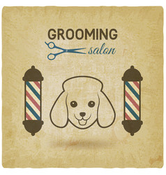 Pet grooming salon logo design vintage background vector