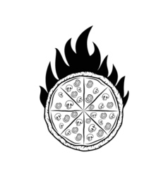 Pizza Silhouette Fire Badge Isolated On White vector