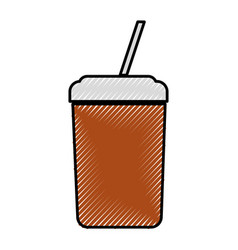 Plastic cup with straw icon vector