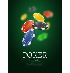 Poker chips background casino template vector