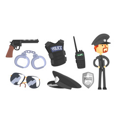 Police officer attributes and wearing uniform vector