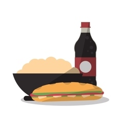 Sandwich and noodle of fast food concept vector