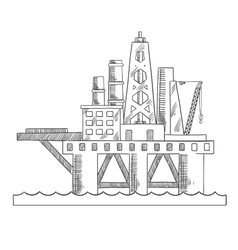 Sea platform drilling offshore oil vector image