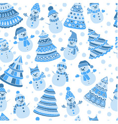 Seamless pattern with christmas trees and snowmen vector