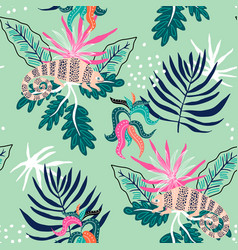 seamless tropical pattern with iguanas on leaves vector image