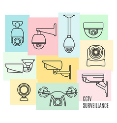 Security camera line icon set flat design vector