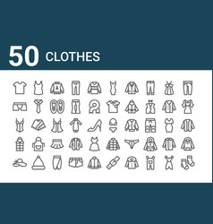 Set 50 clothes icons outline thin line icons vector
