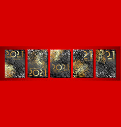 set cards 2021 happy new year gold trees texture vector image