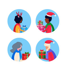 set mix race different age people holding gift box vector image