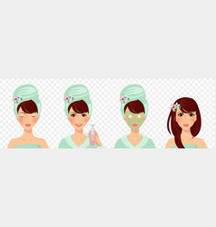 set of skincare stages girl care and protect face vector image