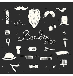 Set of vintage barber shop design elements black vector image