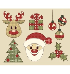 Set of vintage pictures for christmas vector