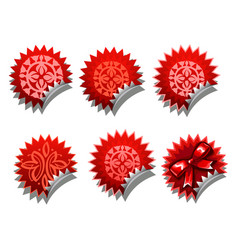 set red stickers with a bowknot isolated on a vector image