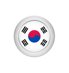 south korean flag on the round button vector image