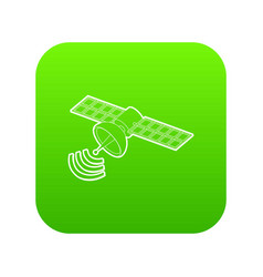 space satellite icon green vector image