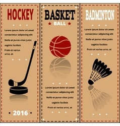 Sports items on paper Set of Vintage Sport vector image