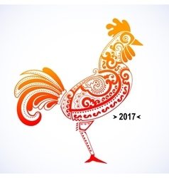 Stylized rooster with ethnic vector