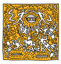 Summer beach hand drawn funny people and objects vector