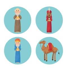 Three wise men cartoon with gift design vector image