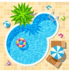Top view relax swimming pool vector