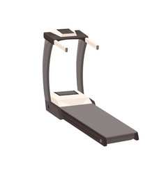 Treadmill with walking belt and handrails gym vector