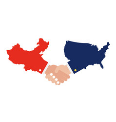 united states map and china map with shaking hands vector image