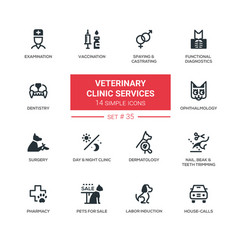Veterinary clinic services - modern simple icons vector
