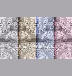 vintage damask set collection baroque patterns vector image