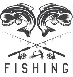 Vintage fishing design template with abstract fish vector